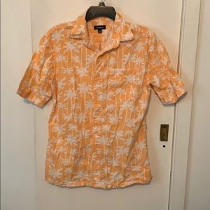 Palm Tree Print Casual Button Down